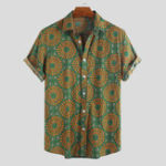 New Mens Vintage Ethnic Style Pattern Printing Summer Shirts