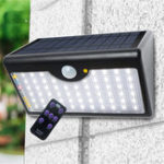 New LED Solar Power PIR Motion Sensor Wall Light Outdoor Garden Lamp Remote Control Solar Light