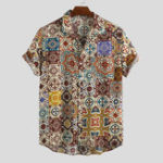 New Mens Summer Floral Printed Breathable Casual Shirts