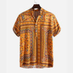New Mens Ethnic Style Printed Summer Casual Loose Henley Shirts