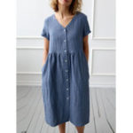 New Pure Color Short Sleeve V Neck Button Casual Shirt Dress