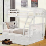 New Twin-Over-Full Bunk Bed with Ladders and Two Storage Drawers