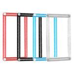 New Drillpro Muiti-color Aluminum Template Ruler Multifunction Four Square Folding Ruler