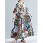 New Casual Floral Printed Side Pockets Half Sleeve Dress