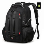 New Men Large Capacity Backpack Schoolbag Laptop Travel Bag USB Port Headphones Hole Bag