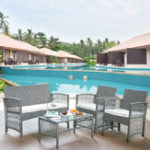New TOPMAX 4Pcs Outdoor Furniture Rattan Chair And Table Patio Set Outdoor Sofa for Garden  Backyard Porch and Poolside