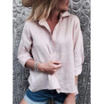 New Solid Color Button Long Sleeve Casual Blouse