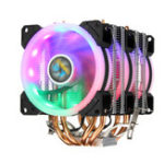 New  Aurora Colorful Backlit 3Pin 3 Fans 4 Copper Tube Dual Tower CPU  Cooling Fan Cooler Heatsink for Intel AMD