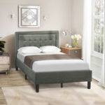 New Upholstered Button Tufted Platform Bed with Strong Wood Slat Support Double Bed