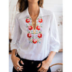 New Bohemian Women 3/4 Sleeve Retro Floral Print Casual Blouse
