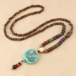 New Ethnic Blue Beads Necklace