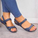 New Casual Compy  Solid color Hook Loop Sandals