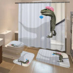 New Waterproof Fabric Bathroom Shower Curtain Anti-slip Mat Toilet Cover Set
