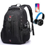 New Waterproof USB Port Headphone Hole School Backpack Laptop Travel Bag