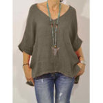 New Women Half Sleeve V-neck Irregular Hem Solid Blouse