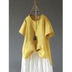 New Women Short Sleeve O-neck Button Irregular Vintage Blouse