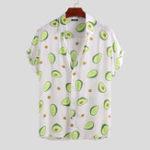 New Mens Avocado Printed Summer Hawaiian Vacation Fashion Shirts
