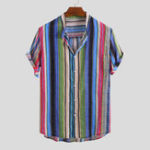 New Men Mix Color Stripe Short Sleeve Stand Collar Hawaiian Shir