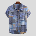 New Mens Vintage Ethnic Pattern Patchwork Design Summer Shirts
