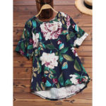 New Women Floral Print O-Neck Short Sleeve High Low Hem Blouse