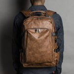 New Men Leisure Retro USB Charging Multifunctional Backpack