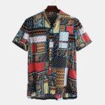 New Mens Vintage Stylish Pattern Summer Loose Printing Shirts