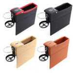 New 1 Pcs Black PU Car Auto Seat Storage Box Catcher Gap Filler Coin Collector Cup Holder