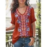 New Women Casual Print V-Neck Short Sleeve Blouse