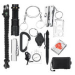 New 13Pcs SOS Emergency Camping Survival Flashlight Bracelet Whistle Branket First Aid Kit Set
