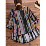 New Women O-Neck 3/4 Sleeve High Low Hem Color Striped Blouse