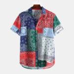 New Fashion Pattern Patchwork Design Chiffon Lightweight Shirts