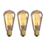 New Elfeland 3PCS Straight Wire Amber Shell E27 ST58 40W Vintage Edison Incandescent Light Bulb AC220V