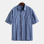 New Mens Summer Vintage Stripe Double Pockets Half Sleeve Shirts