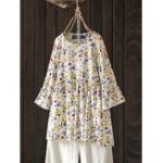 New Women Casual Floral Printed O-Neck 3/4 Flare Sleeve Blouse
