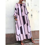 New Women Loose Geometric Print Side Pockets Long Sleeve Dress
