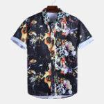 New Men Universe Floral Print Short Sleeve Hawaiian Shirts