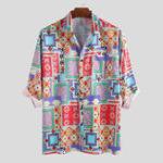 New Men Square Bandanna Print Half Sleeve Shirts