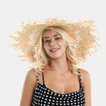 New Woman Lafite Grass Gole Fine Leather Rope Bow Straw Hat