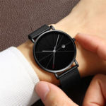 New Deffrun Mesh Steel Band Business Casual Style Men Wristwatch