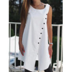 New Women Solid Buttons Sleeveless Loose Asymmetric Shirt