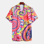 New Mens Ethnic Colorful Printed Turn Down Collar Casual Shirts