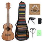 New IRIN EQ 24 Inch Wood Color Electroacoustic Ukulele With Bag/Strings/Capo/Strap/Finger Hammer