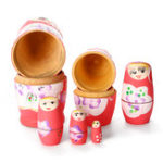 New 6Pcs/Set Russian Wooden Nesting Doll Girls Matryoshka Hand Painted Toy Crafts Gift Decorations