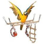 New Wooden Bird Parrot Parakeet Cockatiel Ladder Hammock Swing Chew Hanging Toys