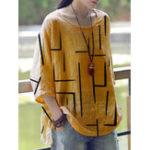 New Casual Women Geometric Print Half Sleeve T-Shirts