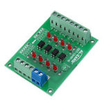 New 5pcs 12V To 5V 4 Channel Optocoupler Isolation Board Isolated Module PNP Output PLC Signal Level Voltage Converter
