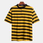 New Mens Casual Big Stripe Loose Comfy Short Business Golf Shirt