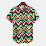 New Mens Summer Colorful Stripe Turn Down Collar Casual Shirts