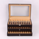 New 36 Pens Fountain Display Case Holder PU Leather Storage Collector Desktop Organizer Box