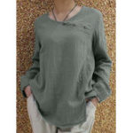 New Women Cotton Pure Color Button O-Neck Long Sleeve Blouse